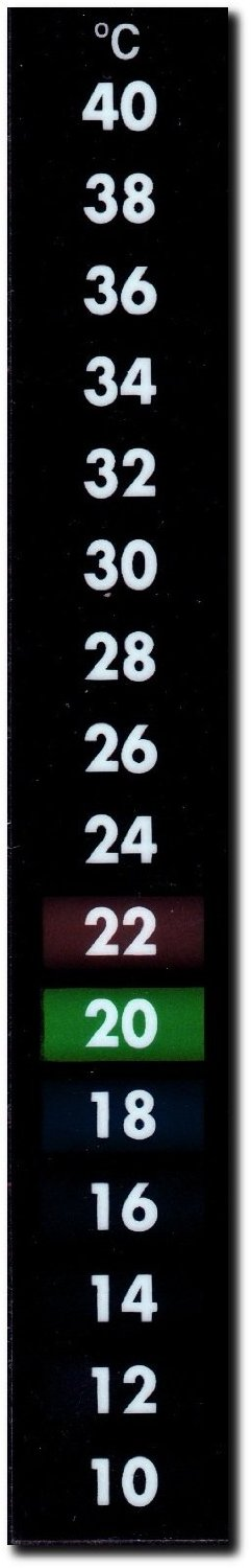 Large Self Adhesive Liquid Crystal Thermometer (10 to 40 oC, Vertical)